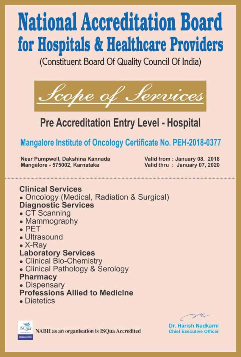 Pre-Accreditation Entry Level Certification of Mangalore Institute of Oncology