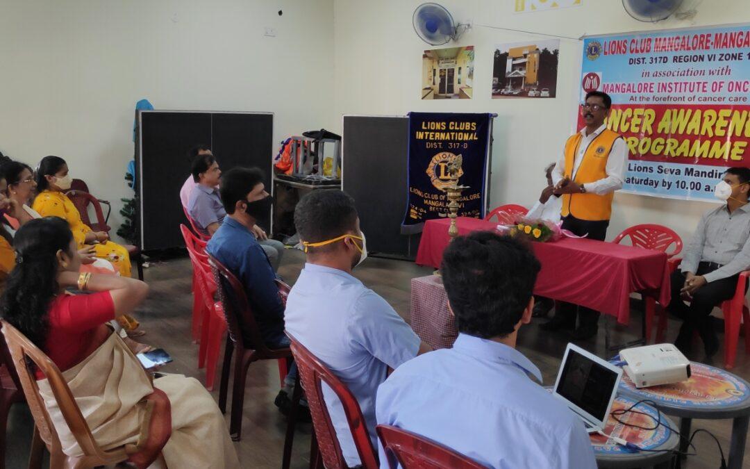 Cancer Awareness Programme at Lions Club Mangaladevi